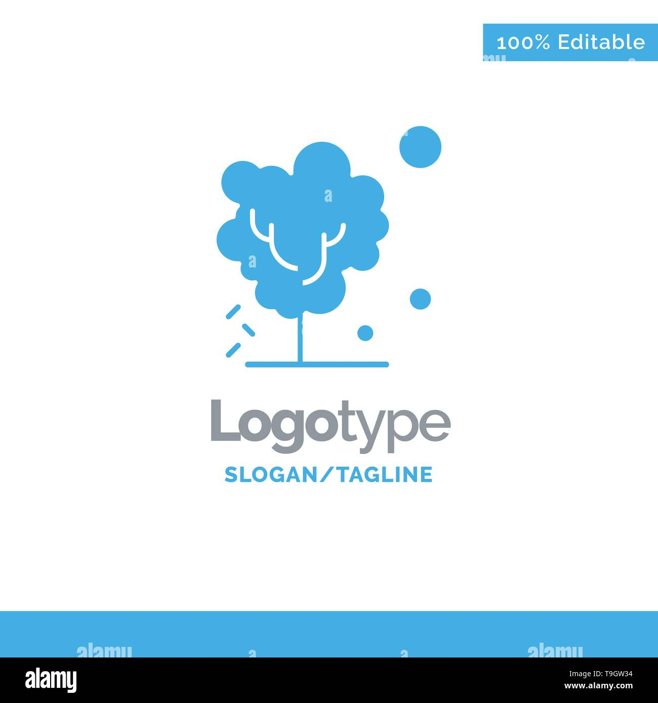 Dry, Global, Soil, Tree, Warming Blue Solid Logo Template. Place for Tagline - Stock Image