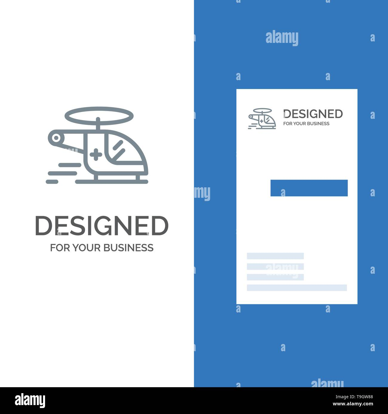Helicopter, Chopper, Medical, Ambulance, Air Grey Logo Design and Business Card Template - Stock Image