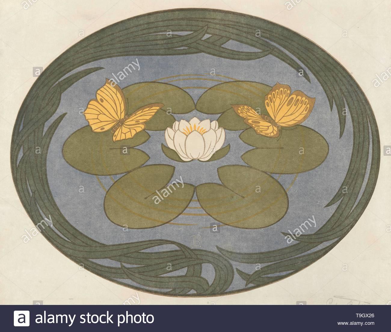 default-Vlinder op een waterlelie (Schmetterlinge auf Seerose) - Stock Image