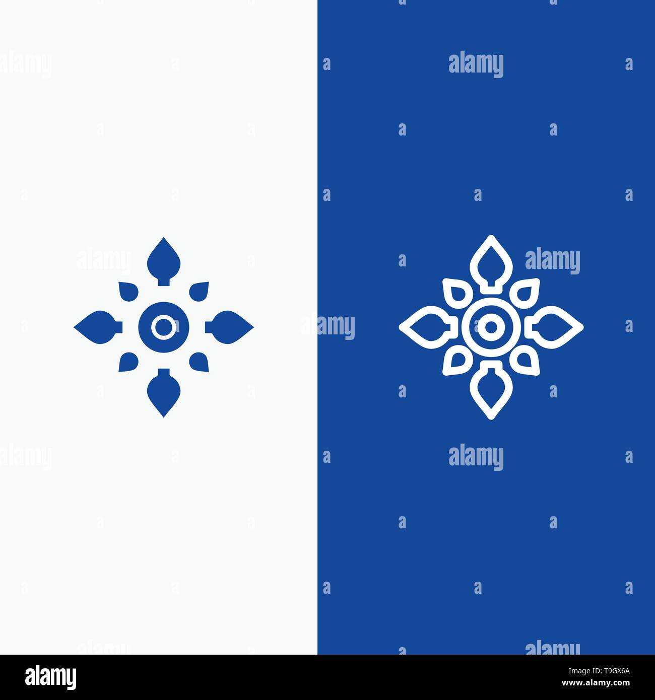 Celebrate, Decorate, Decoration, Diwali, Hindu, Holi Line and Glyph Solid icon Blue banner Line and Glyph Solid icon Blue banner - Stock Image
