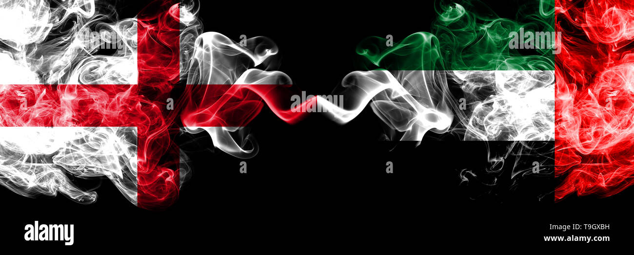 English vs United Arab Emirates, Emirati smoky mystic flags placed side by side. Thick colored silky smokes flag of England and United Arab Emirates,  - Stock Image