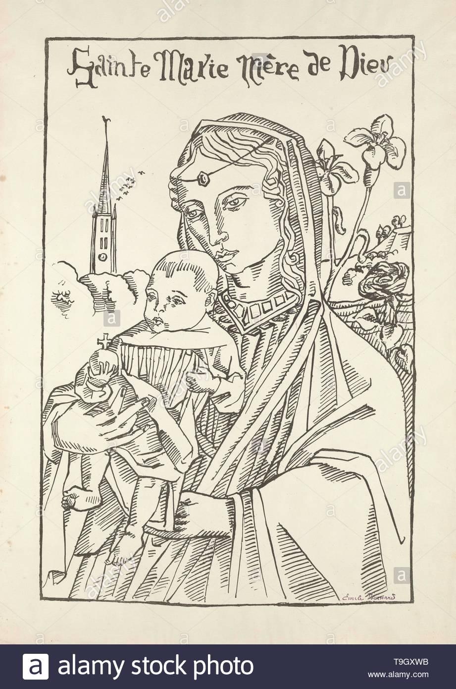 default-Maria moeder Gods met de lelie (Sainte Marie Mère de Dieu avec le lys) - Stock Image