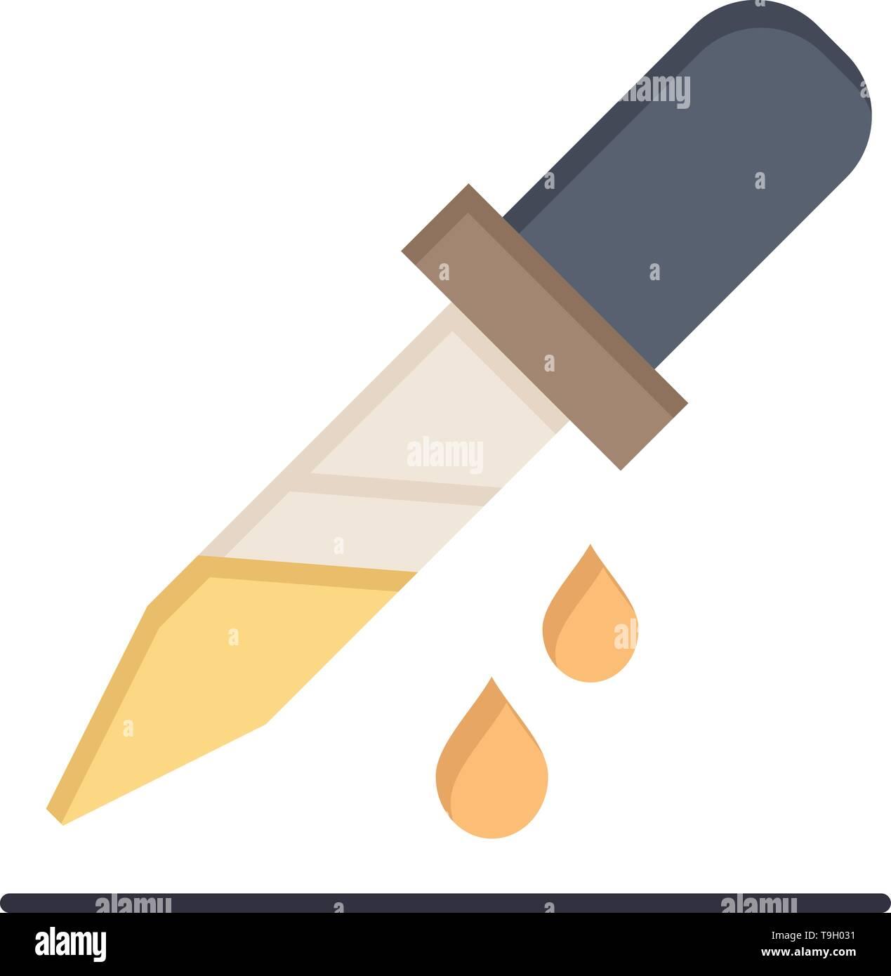 Drop, Dropper, Medical, Medicine  Flat Color Icon. Vector icon banner Template - Stock Image
