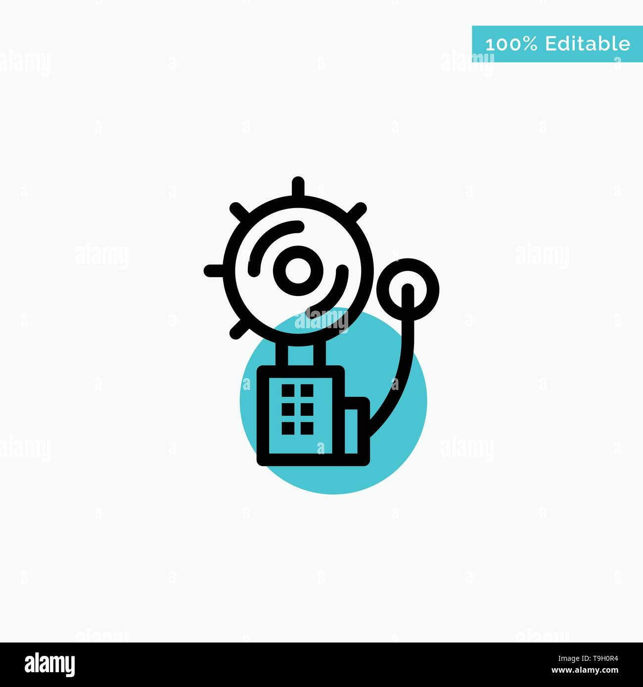 Alarm, Alert, Bell, Fire, Intruder turquoise highlight circle point Vector icon - Stock Image