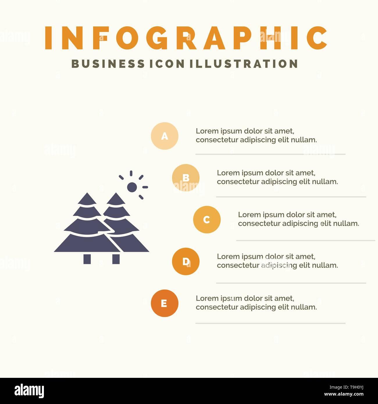 Fir, Forest, Nature, Trees Infographics Presentation Template. 5 Steps Presentation - Stock Image
