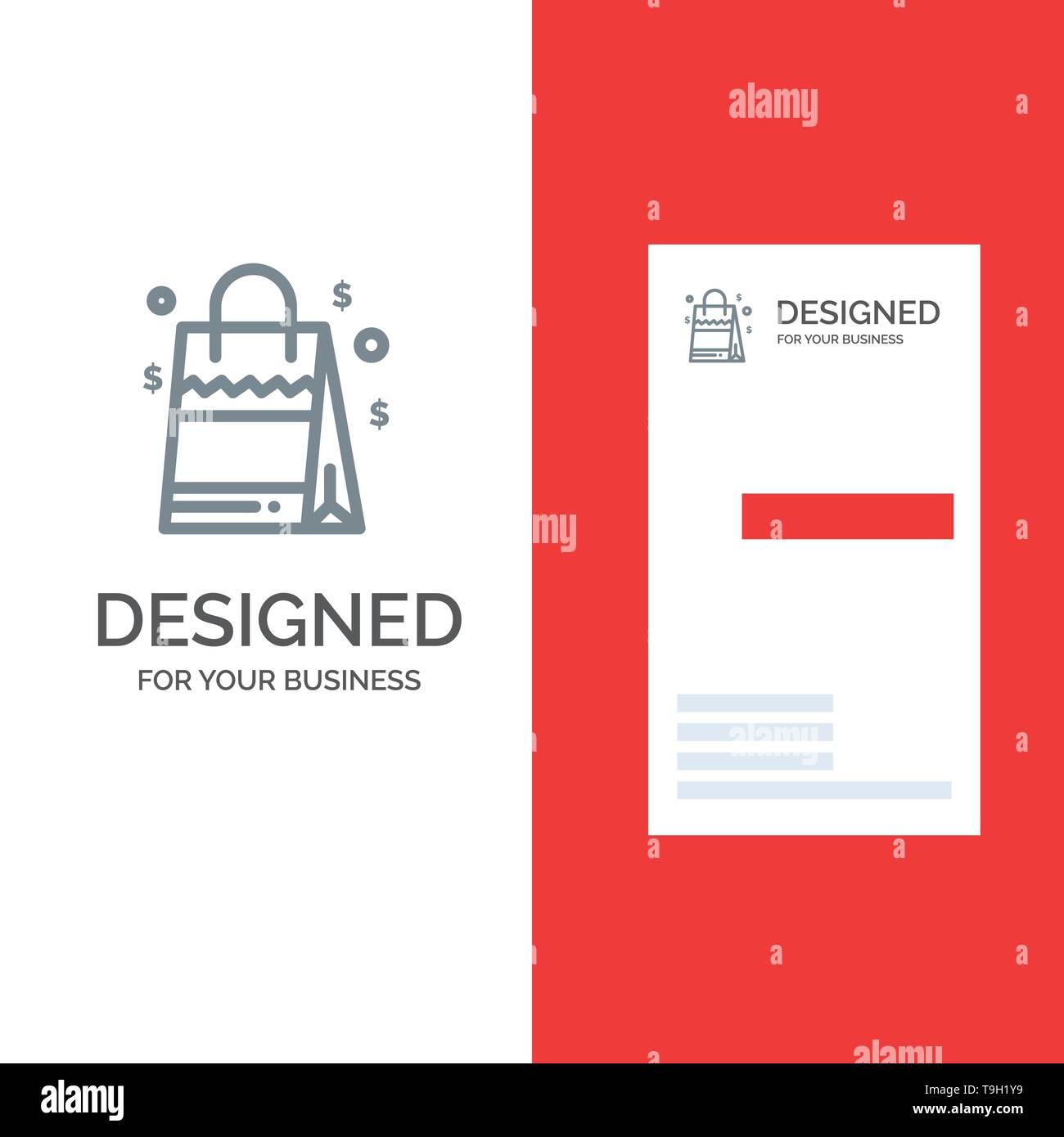 Bag, Handbag, Usa, American Grey Logo Design and Business Card Template - Stock Vector