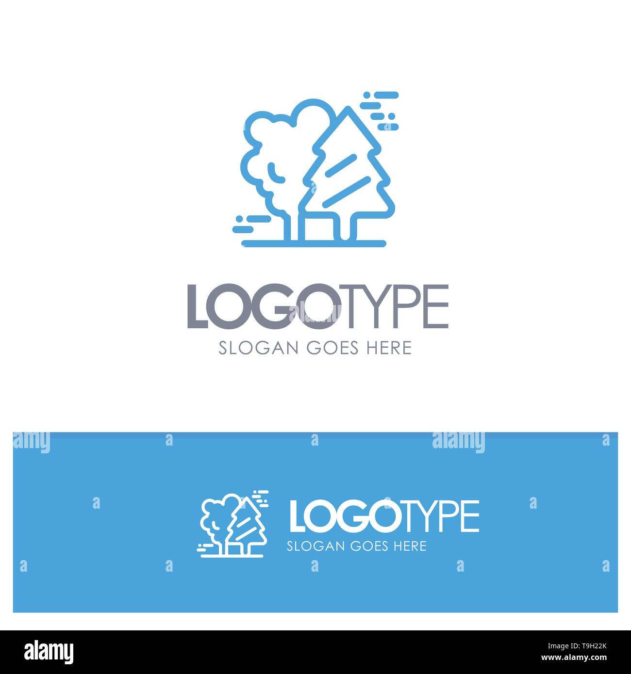 Alpine, Arctic, Canada, Pine Trees, Scandinavia Blue outLine Logo with place for tagline - Stock Image