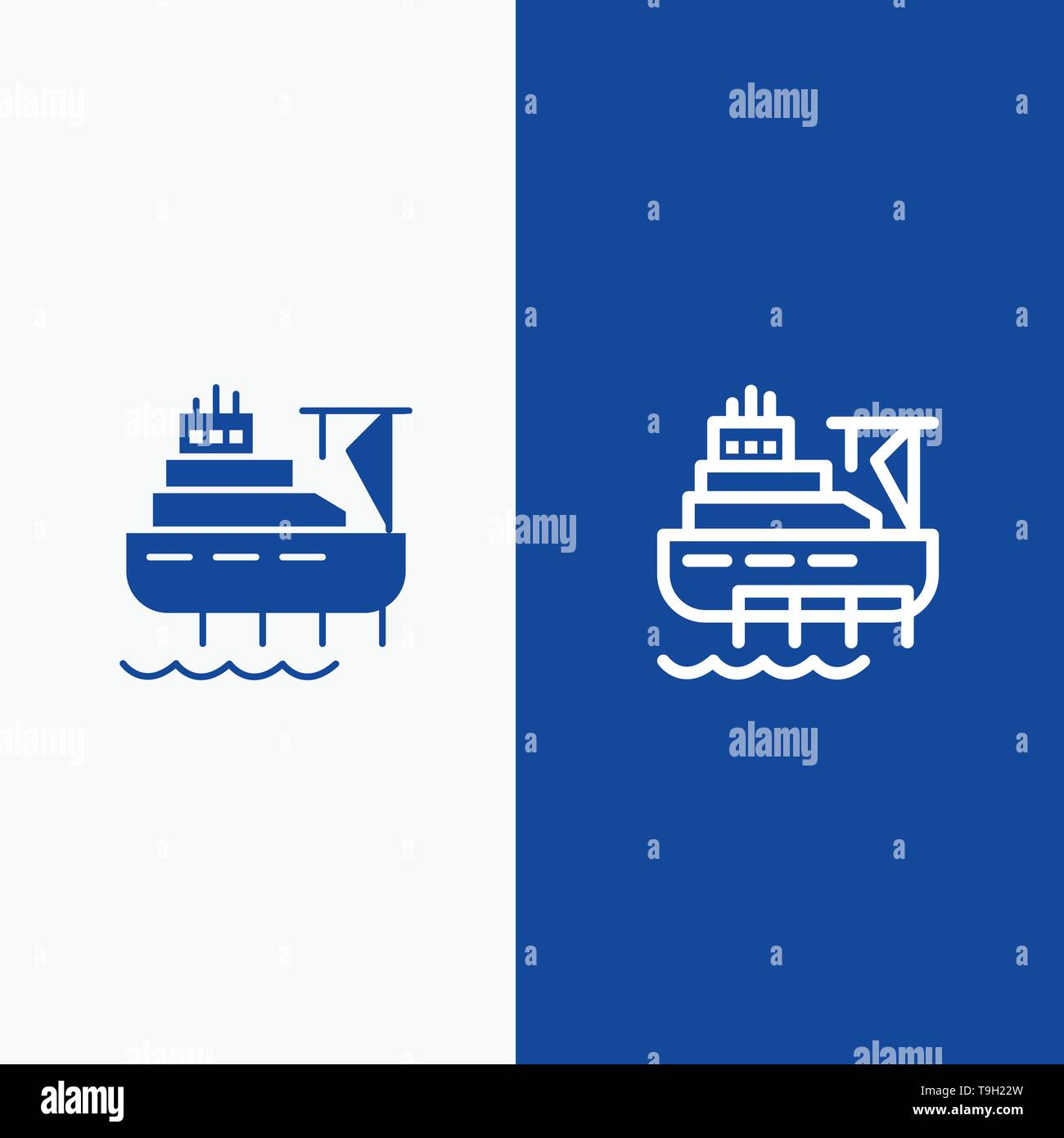 Ship, Boat, Cargo, Construction Line and Glyph Solid icon Blue banner Line and Glyph Solid icon Blue banner - Stock Image