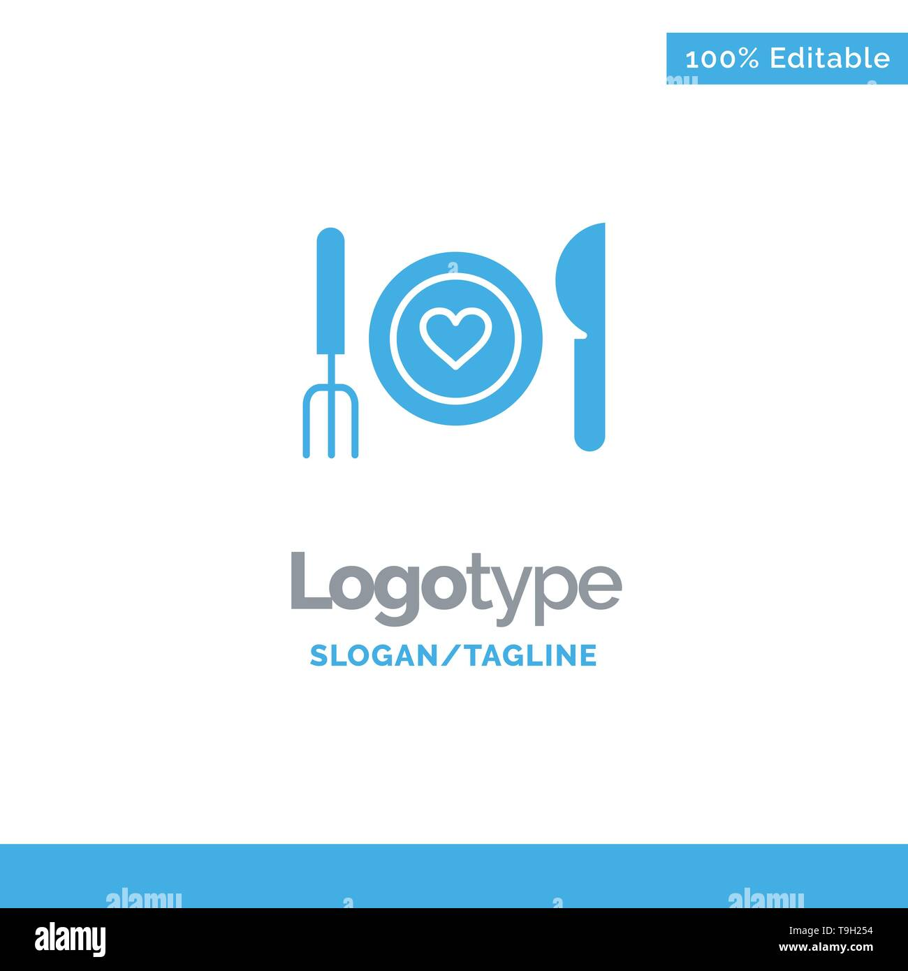 Dinner, Romantic, Food, Date, Couple Blue Solid Logo Template. Place for Tagline - Stock Image