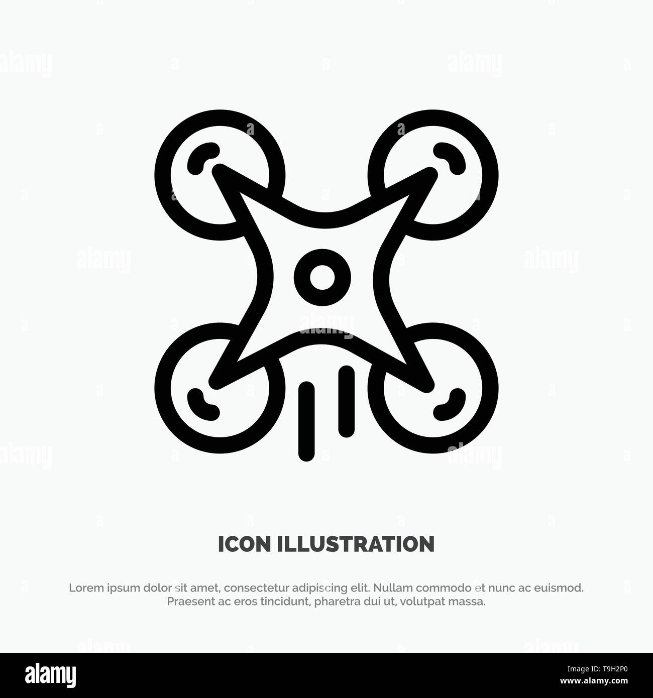 Technology, Drone, Camera, Image Line Icon Vector - Stock Image