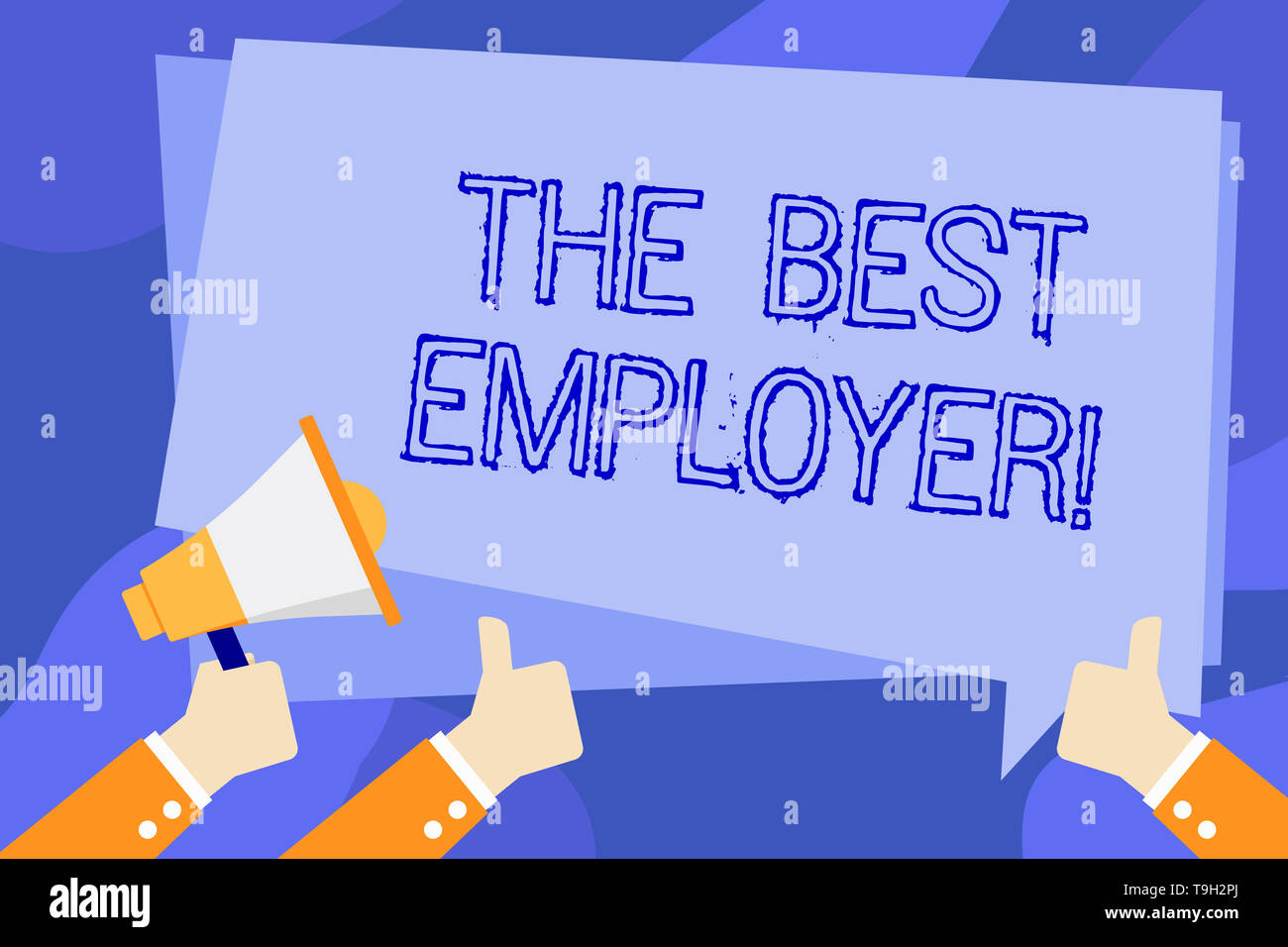 Writing note showing The Best Employer. Business concept for created workplace showing feel heard and empowered Hand Holding Megaphone and Gesturing T - Stock Image