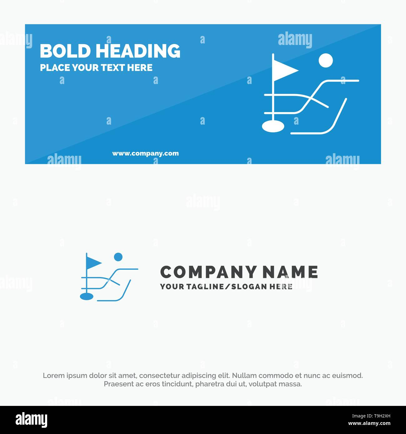 Ball, Field, Golf Sport SOlid Icon Website Banner and Business Logo Template - Stock Image