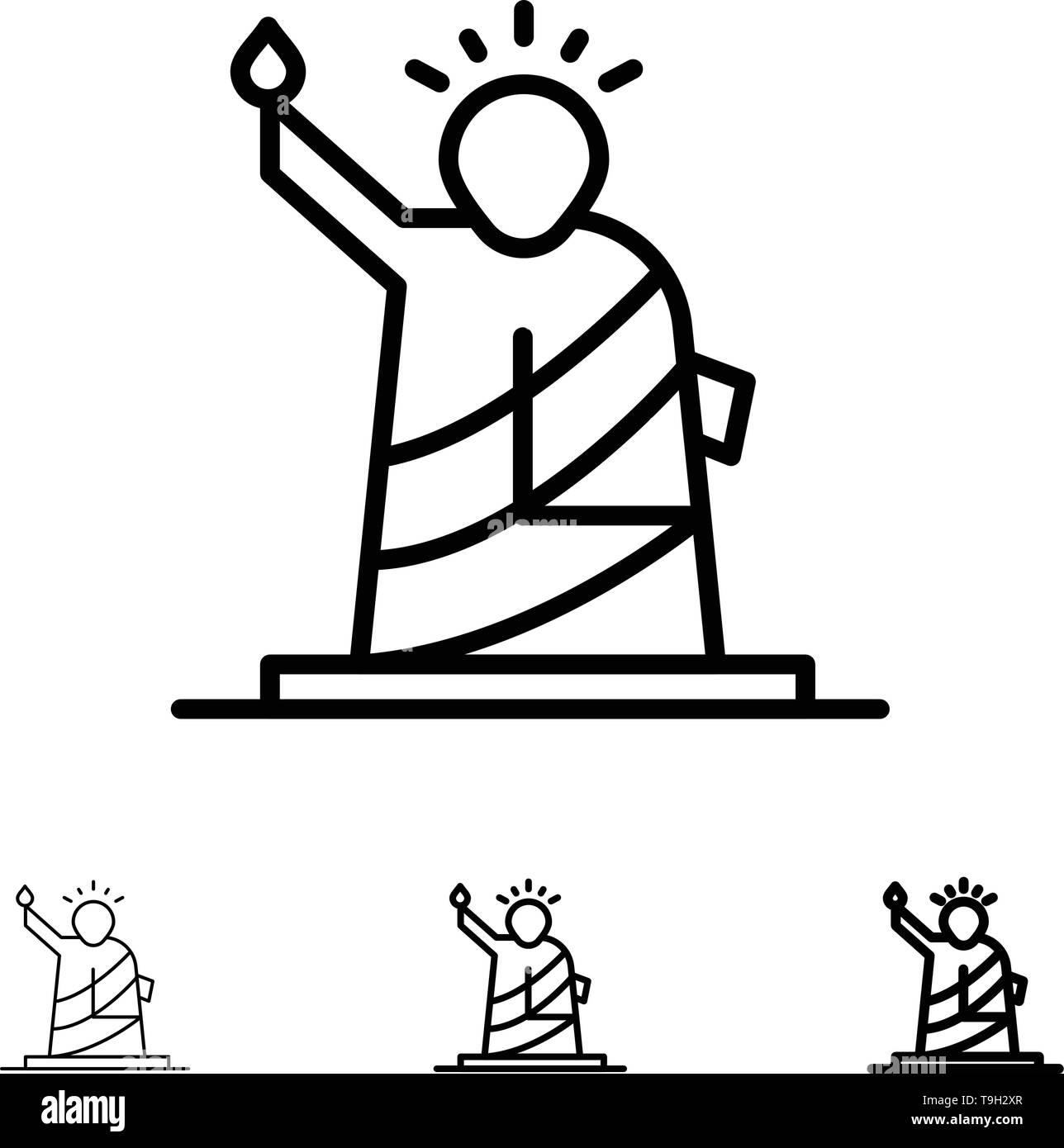 Landmarks, Liberty, Of, Statue, Usa Bold and thin black line icon set Stock Vector