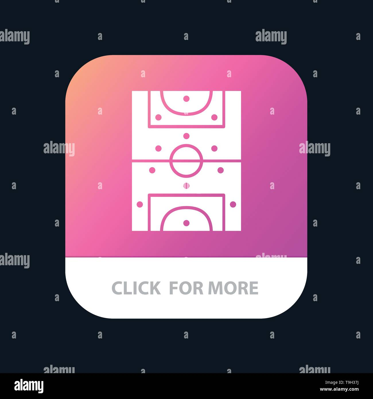 Entertainment, Game, Football, Field Mobile App Button. Android and IOS Glyph Version - Stock Image