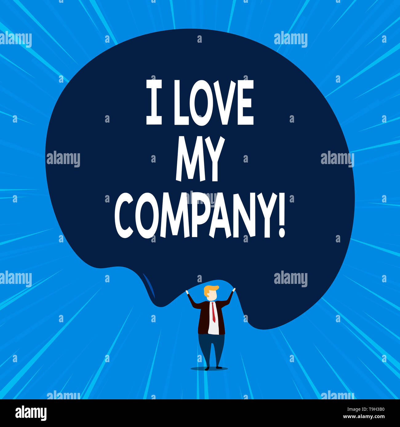 Writing note showing I Love My Company. Business concept for tell why admire their job and workplace - Stock Image