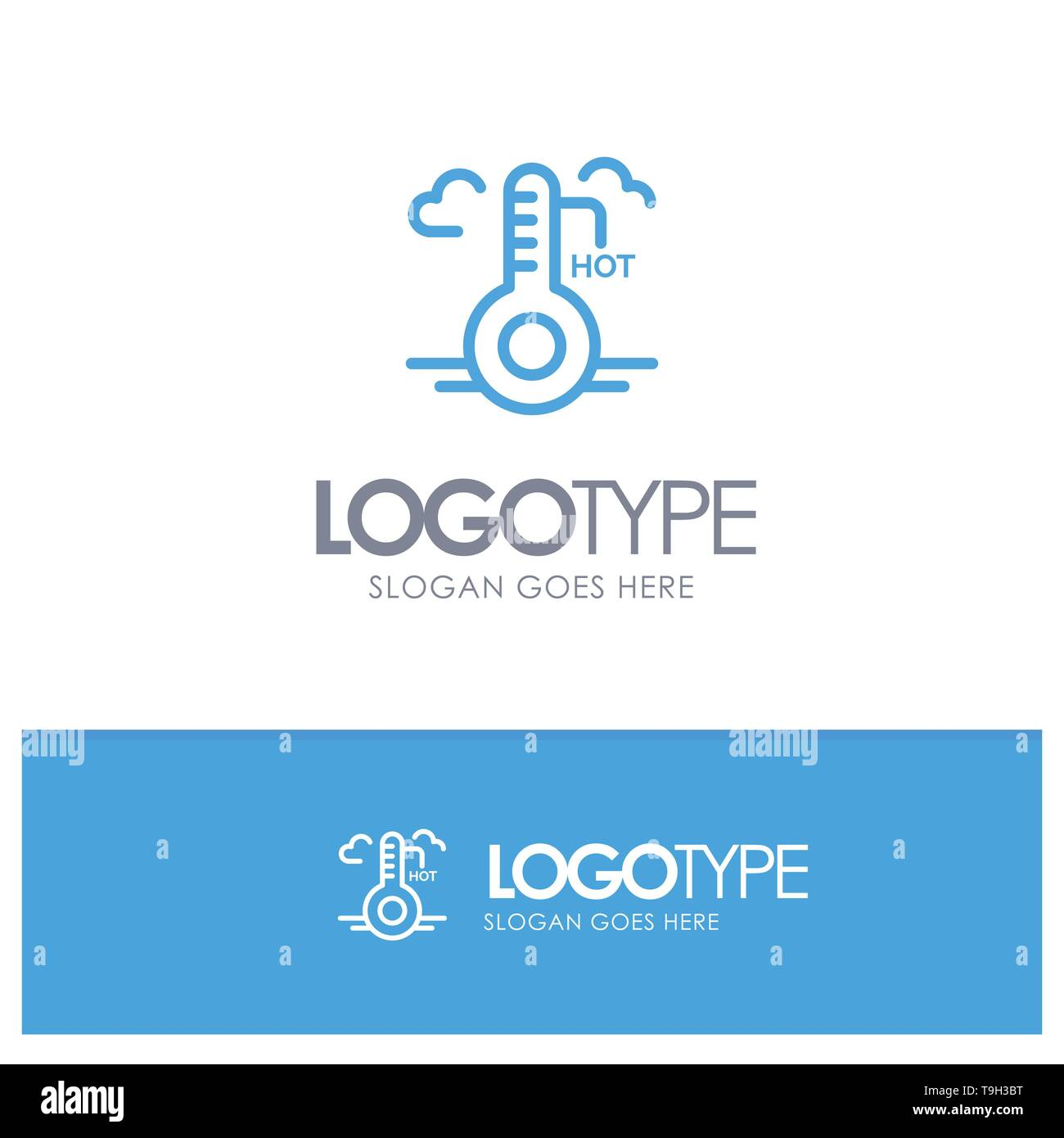 Temperature, Hot, Weather, Update Blue Logo Line Style - Stock Vector