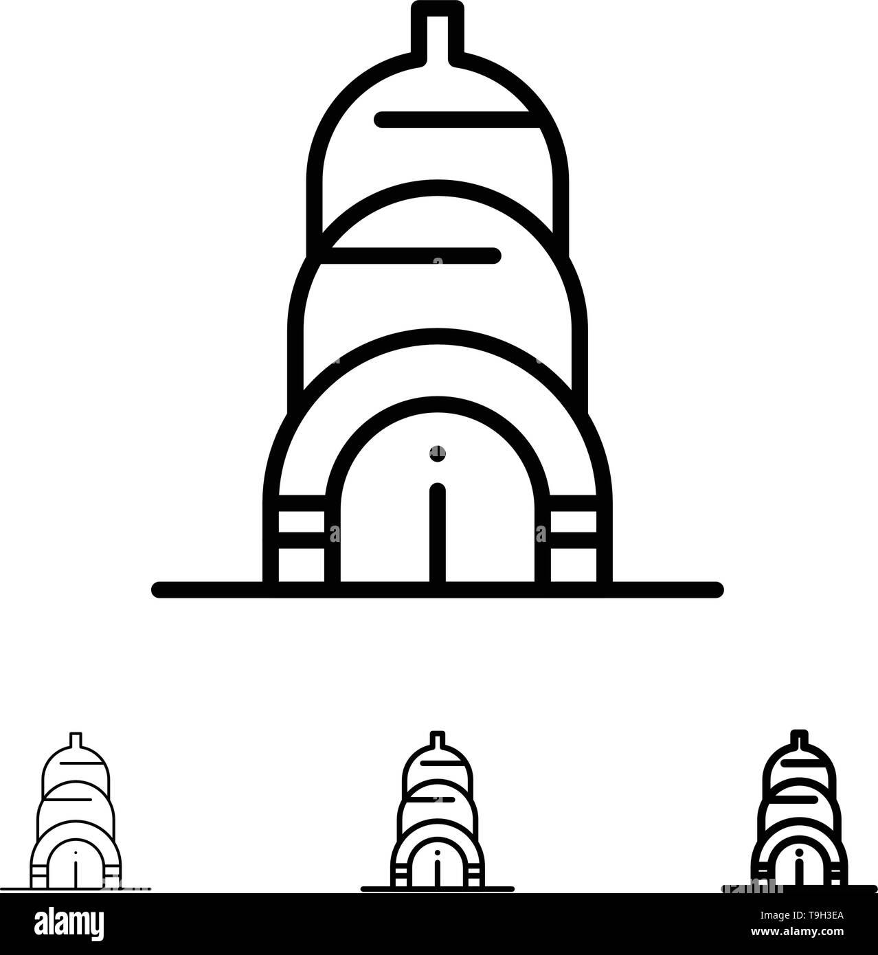 Chrysler, Building, Usa Bold and thin black line icon set - Stock Vector