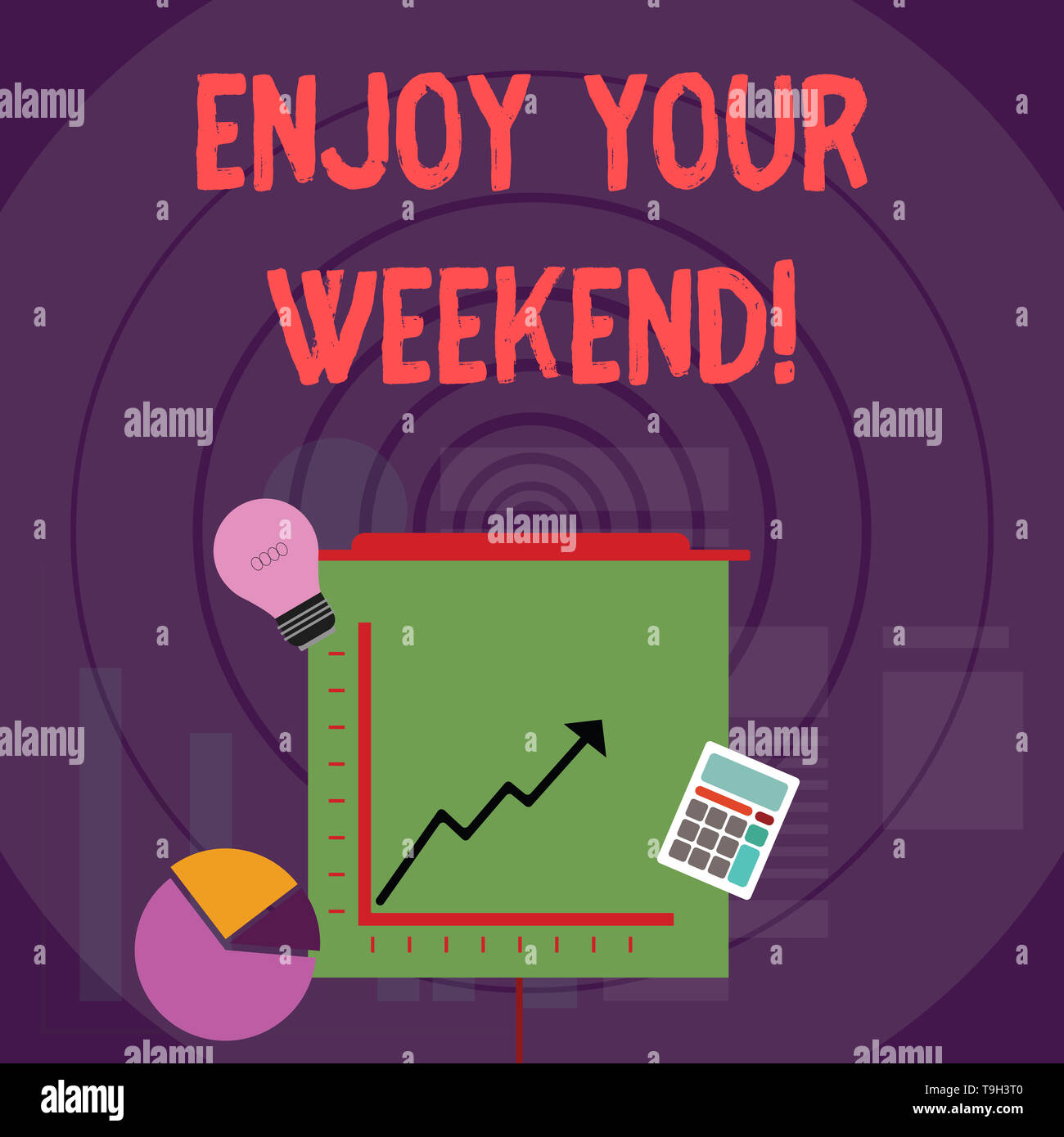 Writing note showing Enjoy Your Weekend. Business concept for wishing someone that something nice will happen at holiday Investment Icons of Pie and L - Stock Image