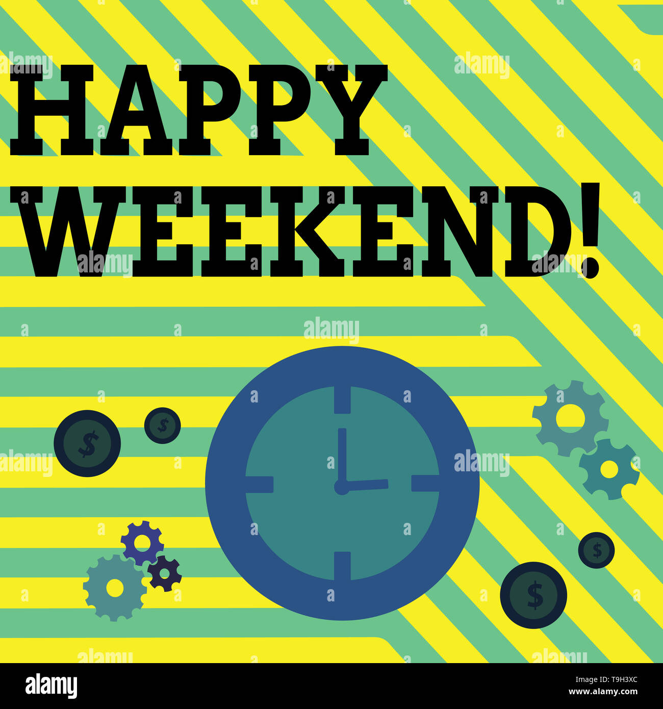 Conceptual hand writing showing Happy Weekend. Concept meaning something nice has happened or they feel satisfied with life Time Management Icons of C - Stock Image