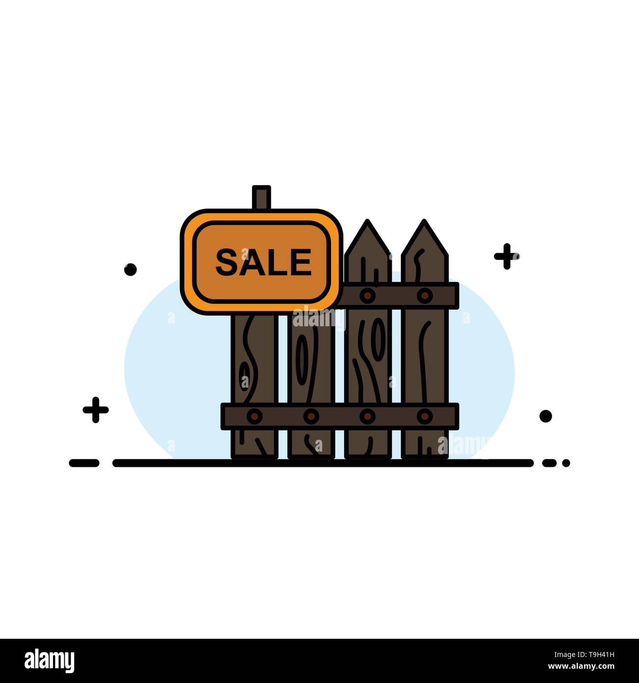 Fence, Wood, Realty, Sale, Garden, House  Business Flat Line Filled Icon Vector Banner Template - Stock Image