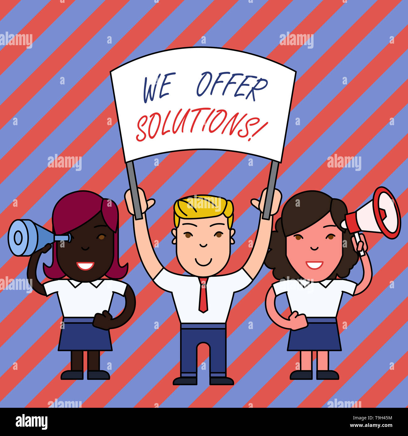Conceptual hand writing showing We Offer Solutions. Concept meaning way to solve problem or deal with difficult situation - Stock Image