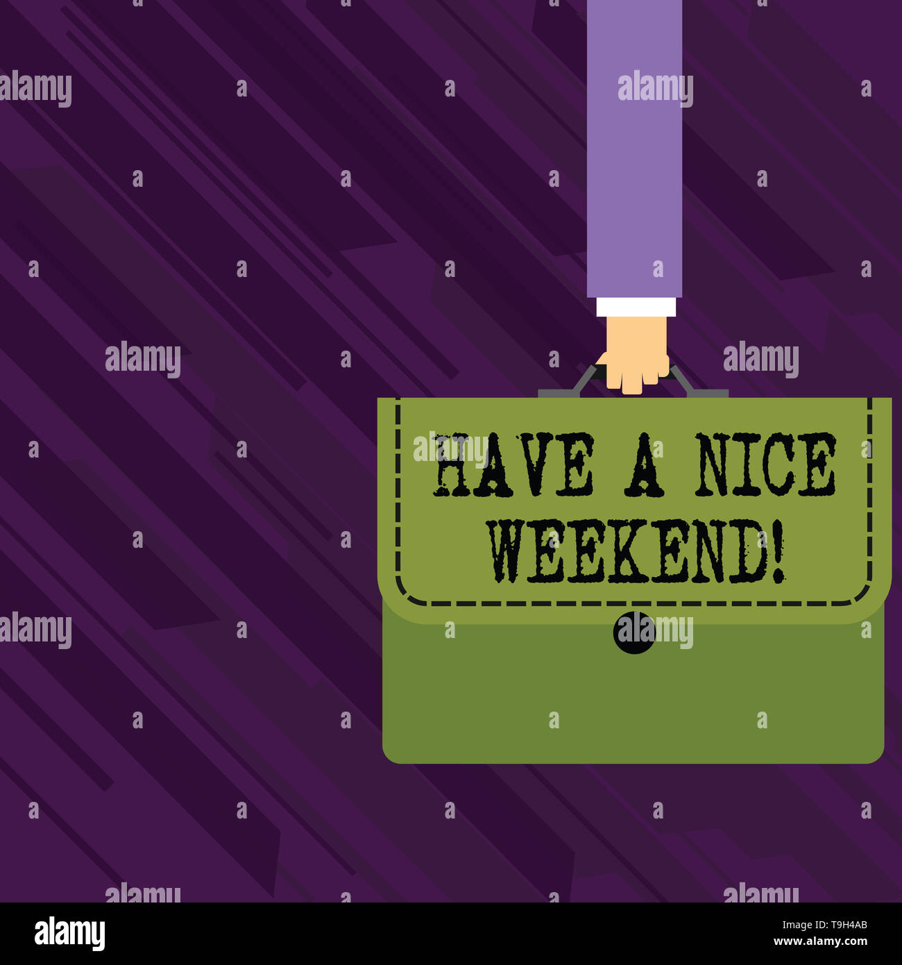 Conceptual hand writing showing Have A Nice Weekend. Concept meaning wishing someone that something nice happen holiday Businessman Carrying Colorful  - Stock Image
