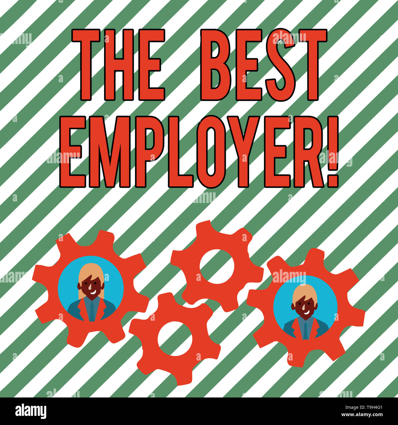 Conceptual hand writing showing The Best Employer. Concept meaning created workplace showing feel heard and empowered Two Business People Inside Cog W - Stock Image