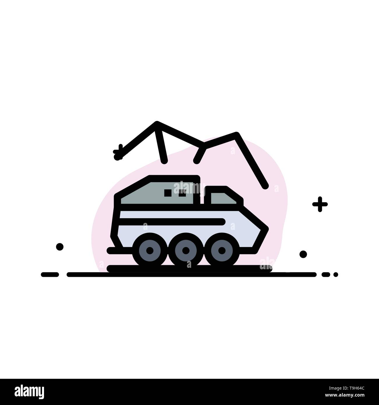 Exploration, Planet, Rover, Surface, Transport  Business Flat Line Filled Icon Vector Banner Template - Stock Image