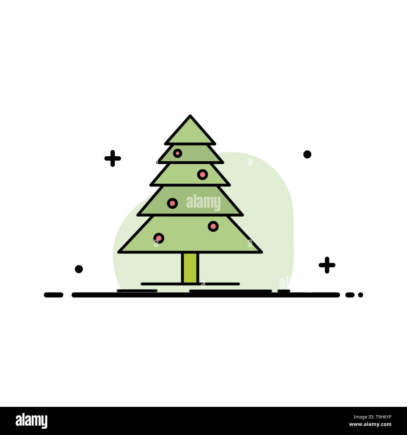 Tree, Forest, Christmas, XMas  Business Flat Line Filled Icon Vector Banner Template - Stock Image