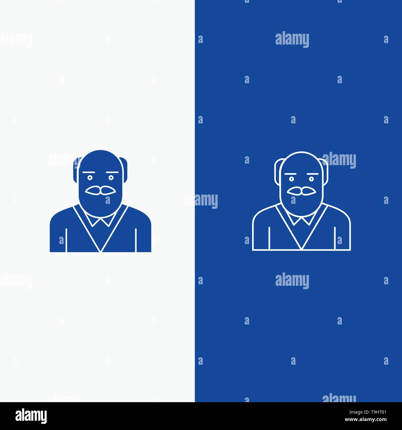 Grandpa, Father, Old Man, Uncle Line and Glyph Solid icon Blue banner Line and Glyph Solid icon Blue banner - Stock Vector