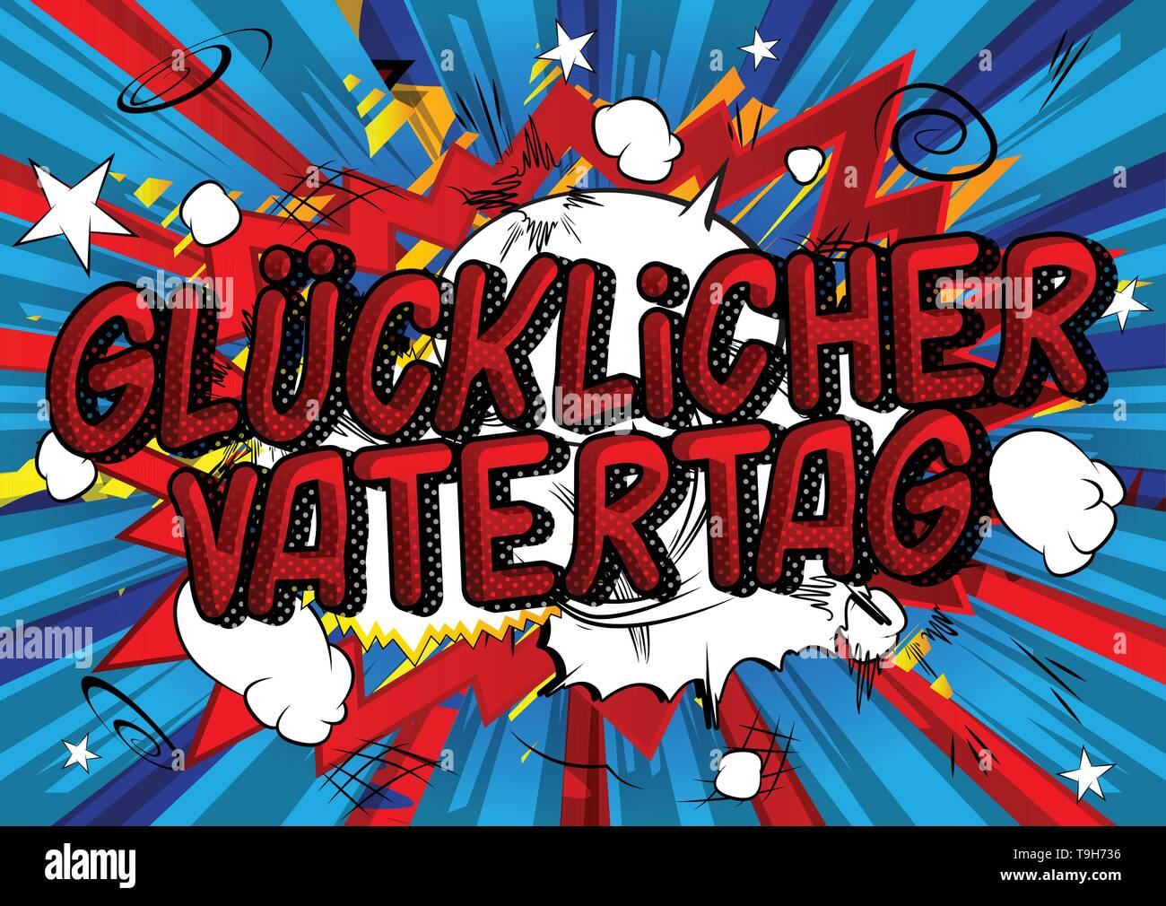 Glucklicher Vatertag (Father's Day in German)- Vector illustrated comic book style phrase on abstract background. - Stock Image