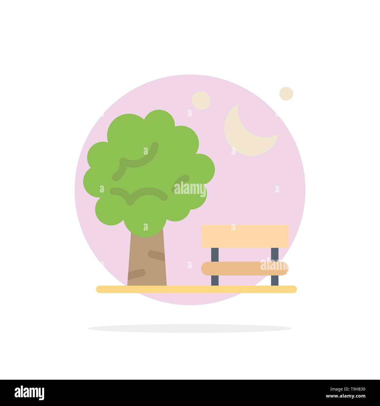 Bench, Chair, Park, Spring, Balloon Abstract Circle Background Flat color Icon - Stock Image