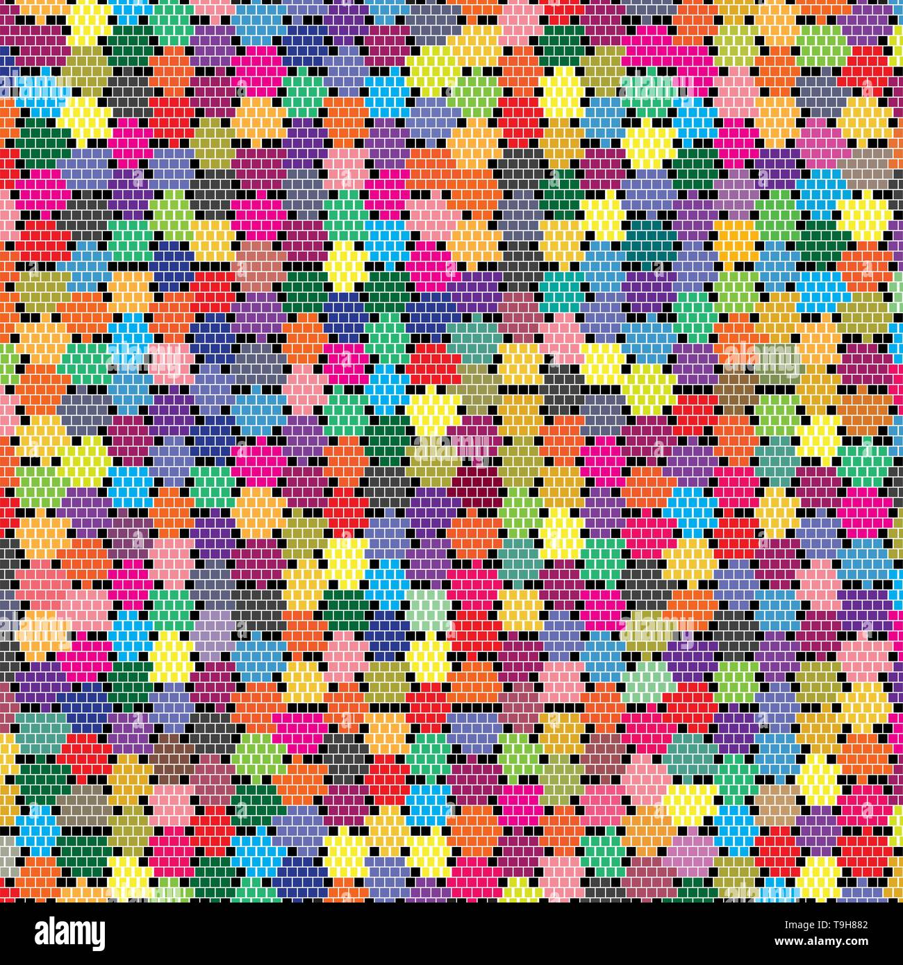 Abstract Colorful Pixels Brick Blocks Wall Vector Object