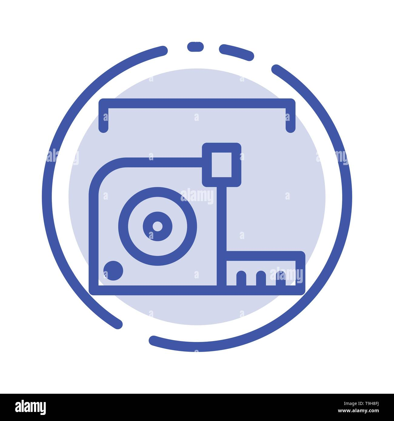Measure, Measurement, Meter, Roulette, Ruler Blue Dotted Line Line Icon - Stock Image