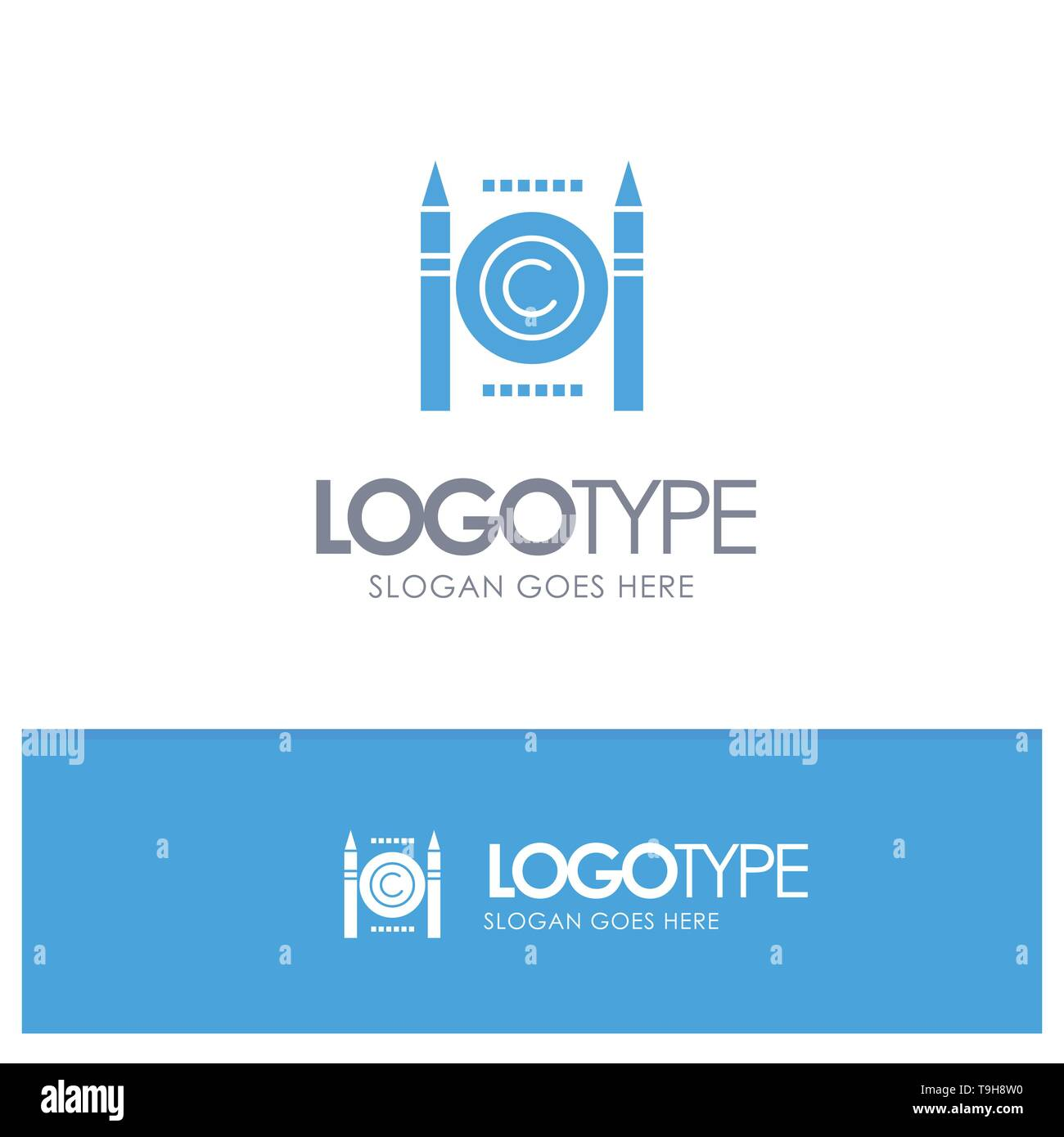 Business, Conflict, Copyright, Digital Blue Solid Logo with place for tagline - Stock Image