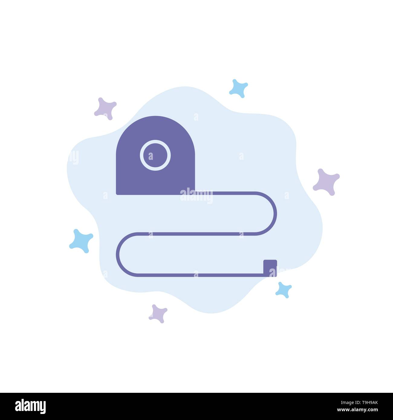 Construction, Measuring, Scale, Tape Blue Icon on Abstract Cloud Background - Stock Image