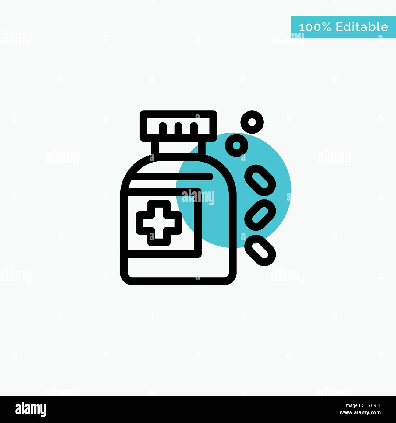 Bottle, Medicine, Tablet turquoise highlight circle point Vector icon - Stock Image