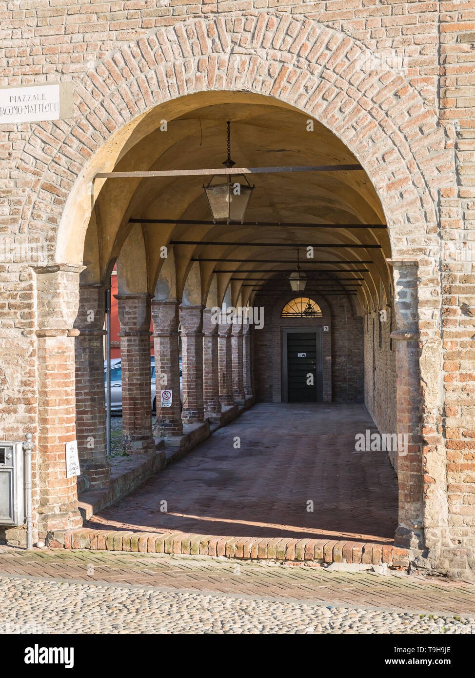 Archway, Columns and Colonnade in Fontanellato in Parma, Italy. - Stock Image