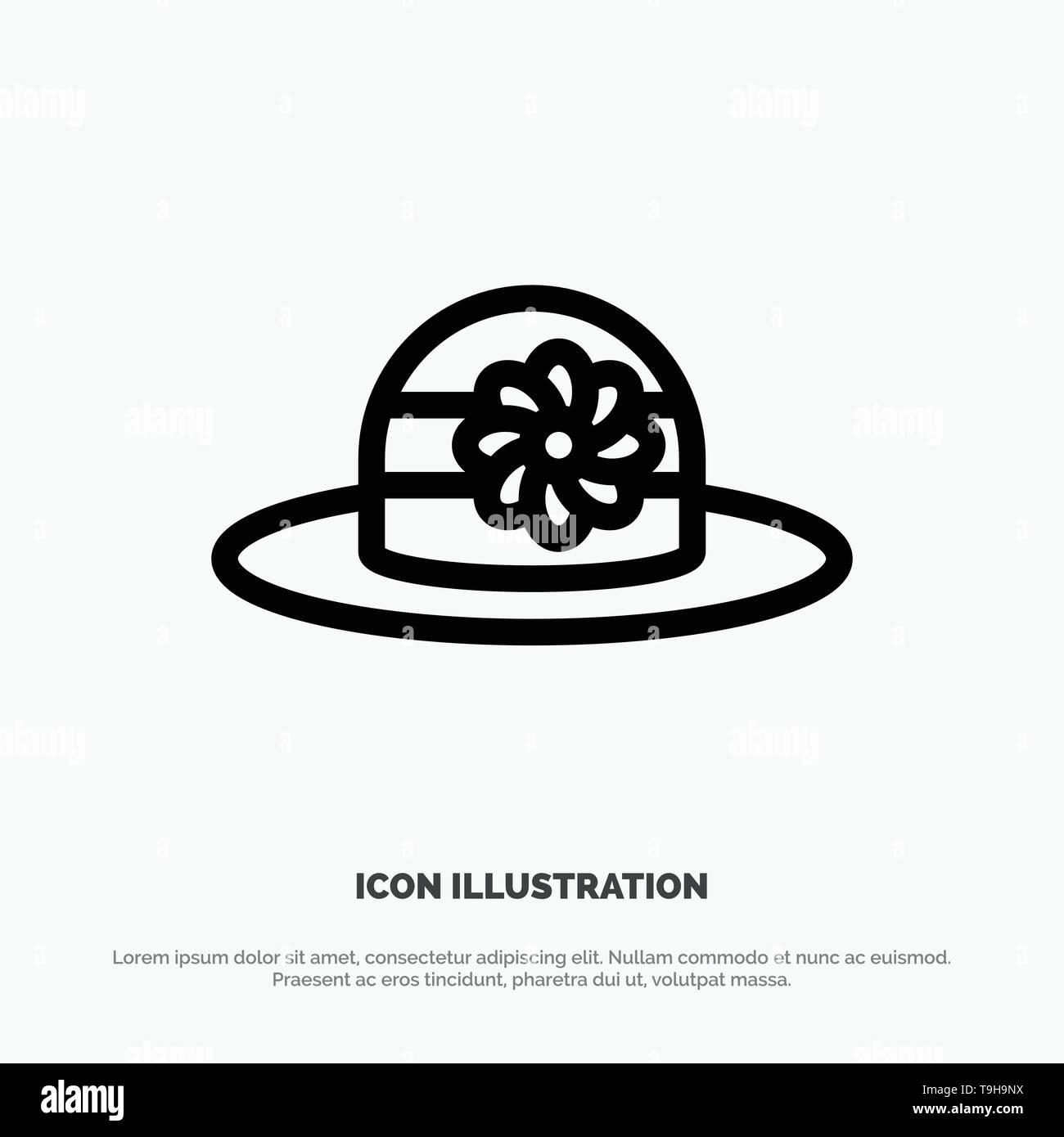 Beach, Hat, Cap Line Icon Vector - Stock Image