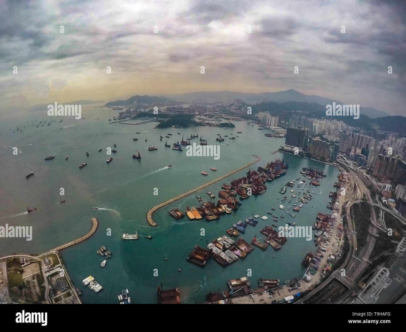 Views of Victoria Harbour and Hong Kong from above Stock Photo
