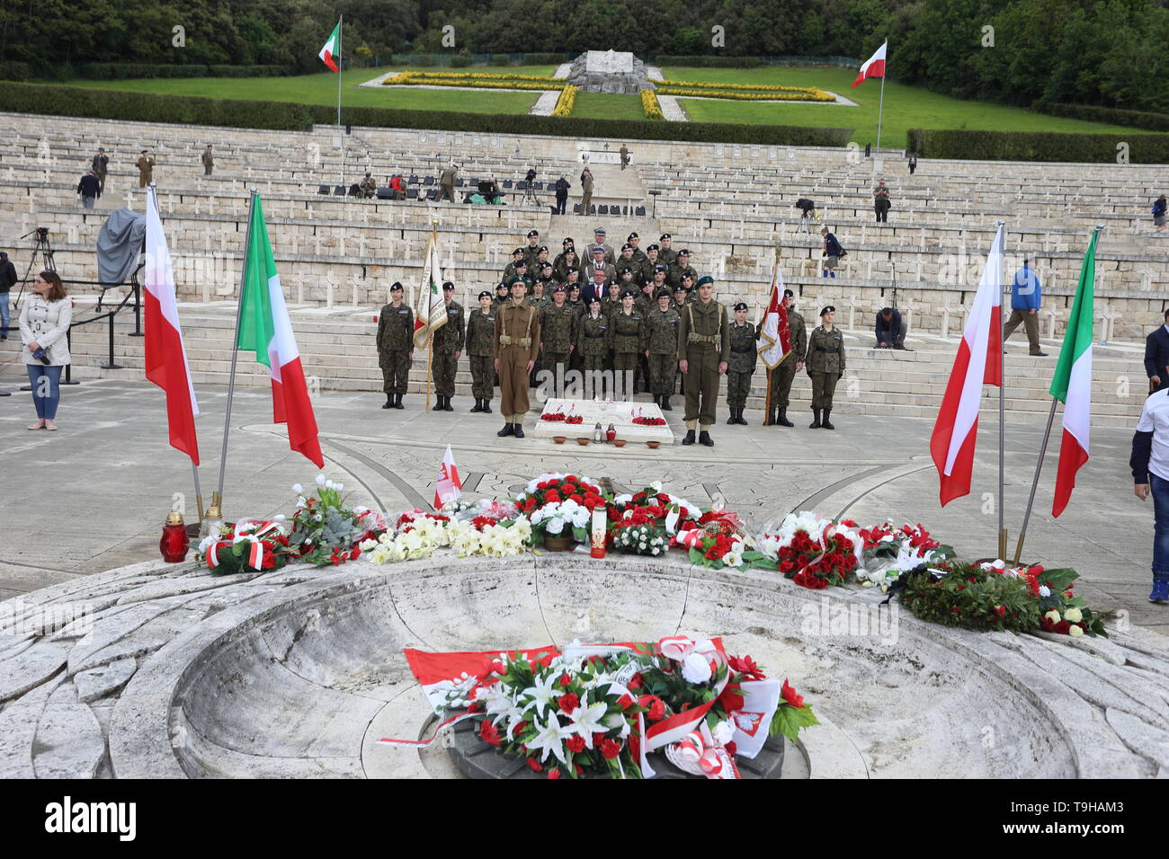 Cassino, Italy - May 18, 2019: Celebrations of the 75th anniversary of the Battle of Montecassino in the Polish military cemetery - Stock Image