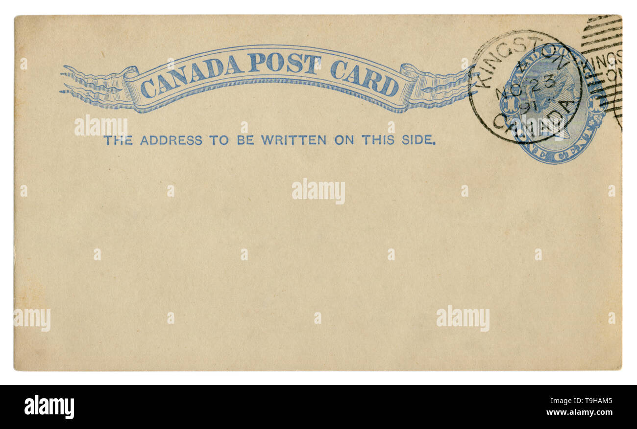 Kingston, Canada, 1891: Blanked Canadian historical Post Card with blue text in vignette, Imprinted One Cent Queen Victoria Stamp, Fancy cancel Stock Photo