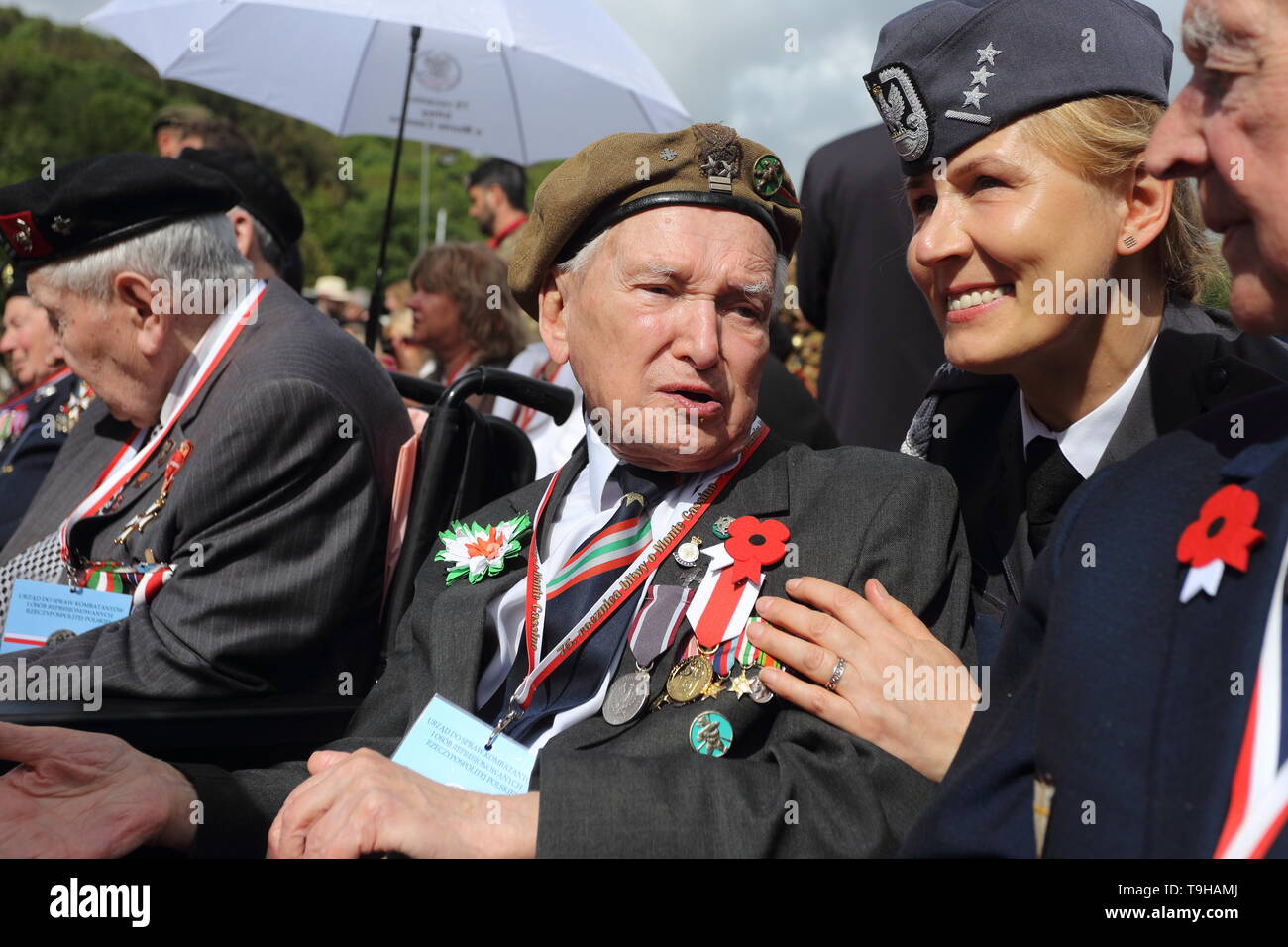 Cassino, Italy - May 18, 2019: Polish veterans participate in the celebrations of the 75th anniversary of the Battle of Montecassino - Stock Image