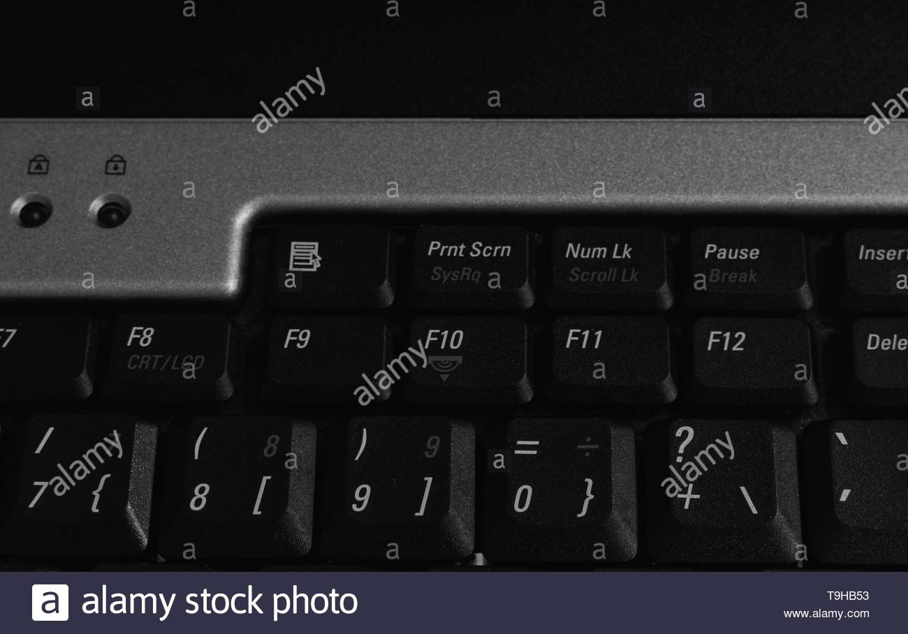 F keys and print screen (prnt scrn) hotkey on a laptop keyboard. - Stock Image