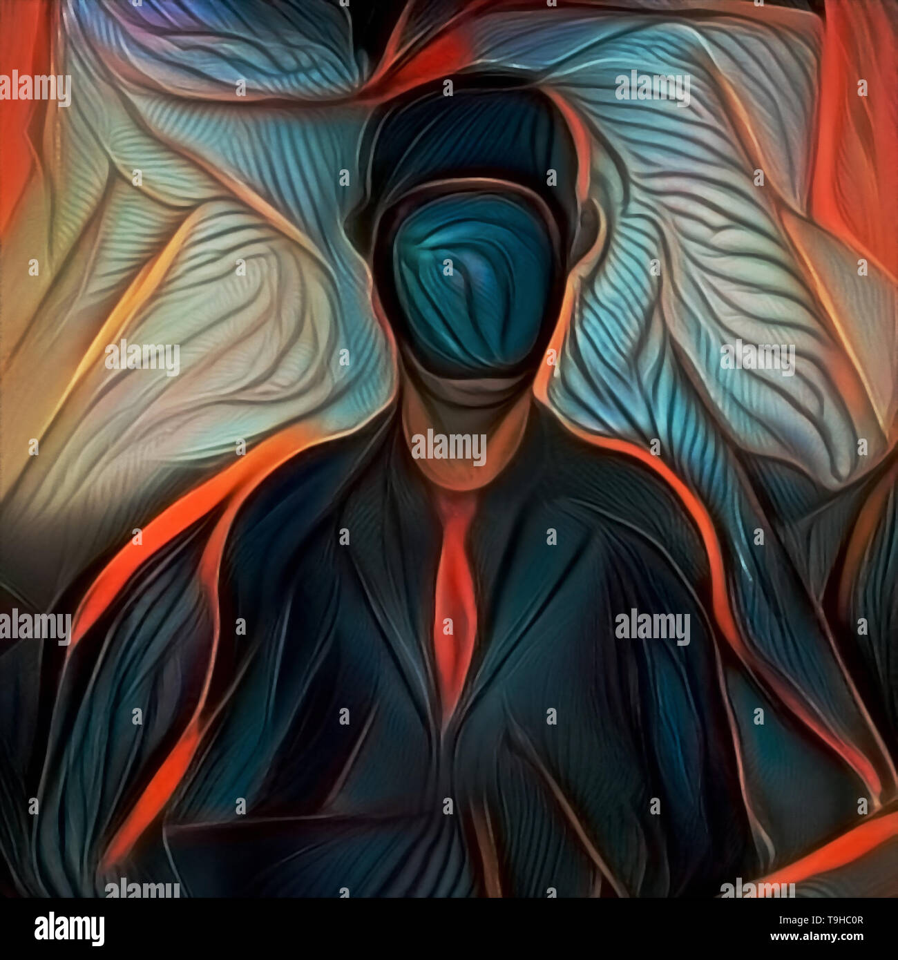 Modern Abstract Painting Man In Dark Suit Hidden Face Stock