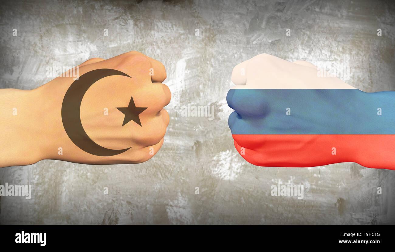 Muslim world vs Russia. Men fists - Stock Image