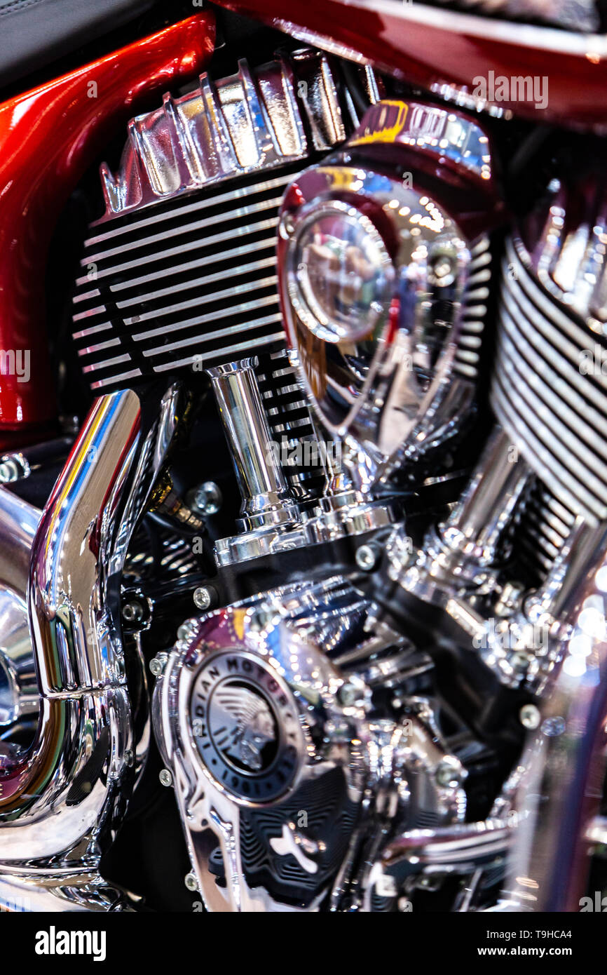 BELGRADE, SERBIA - MARCH 23, 2019: Detail from Indian motorcycle in Belgrade, Serbia. Indian is an American brand of motorcycles originally produced f - Stock Image