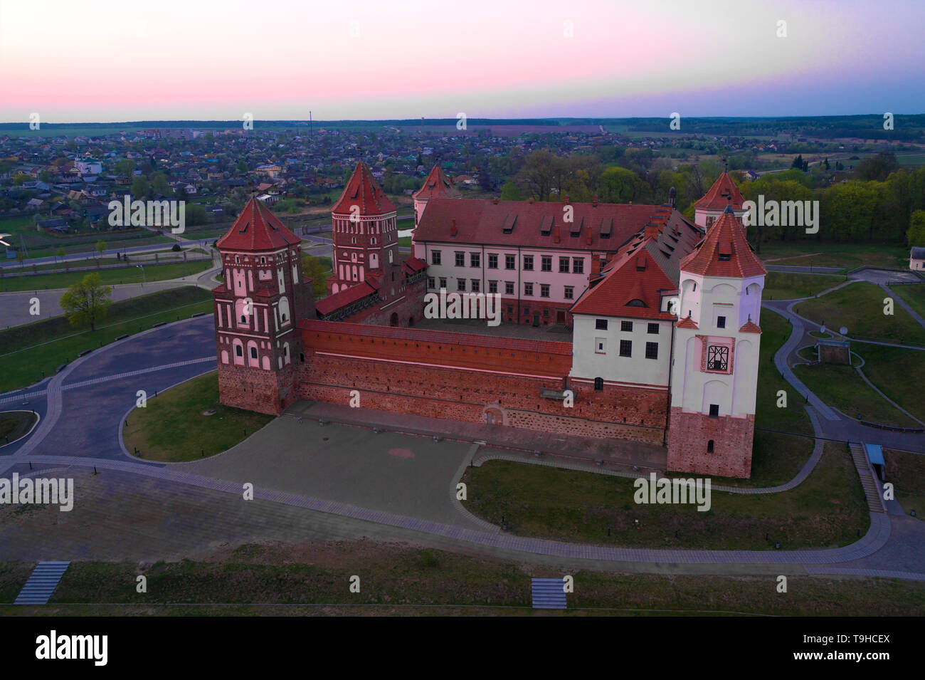 Mir Castle in April twilight (shooting from a quadcopter). Belarus - Stock Image
