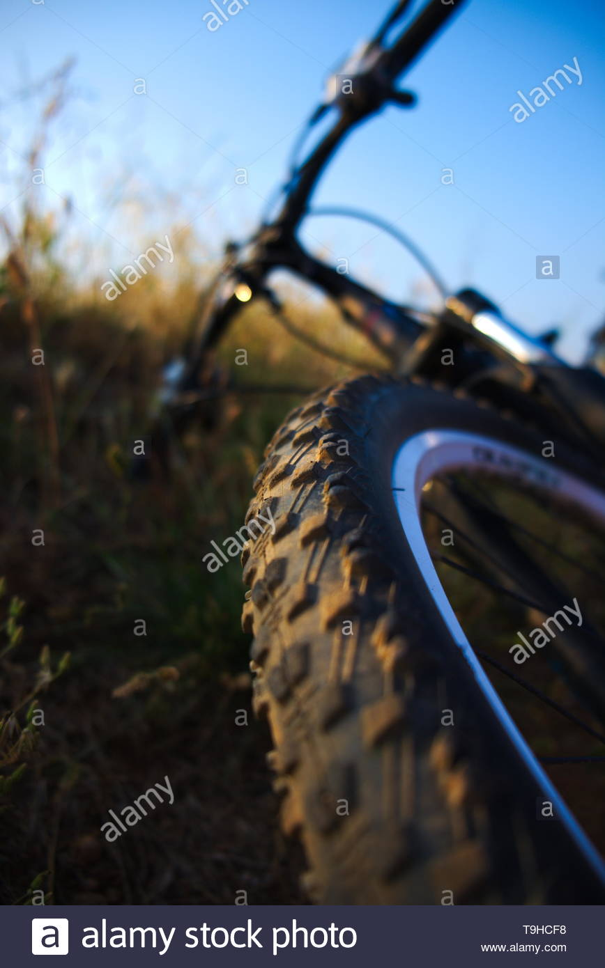 Bicycle view from wheel - Stock Image