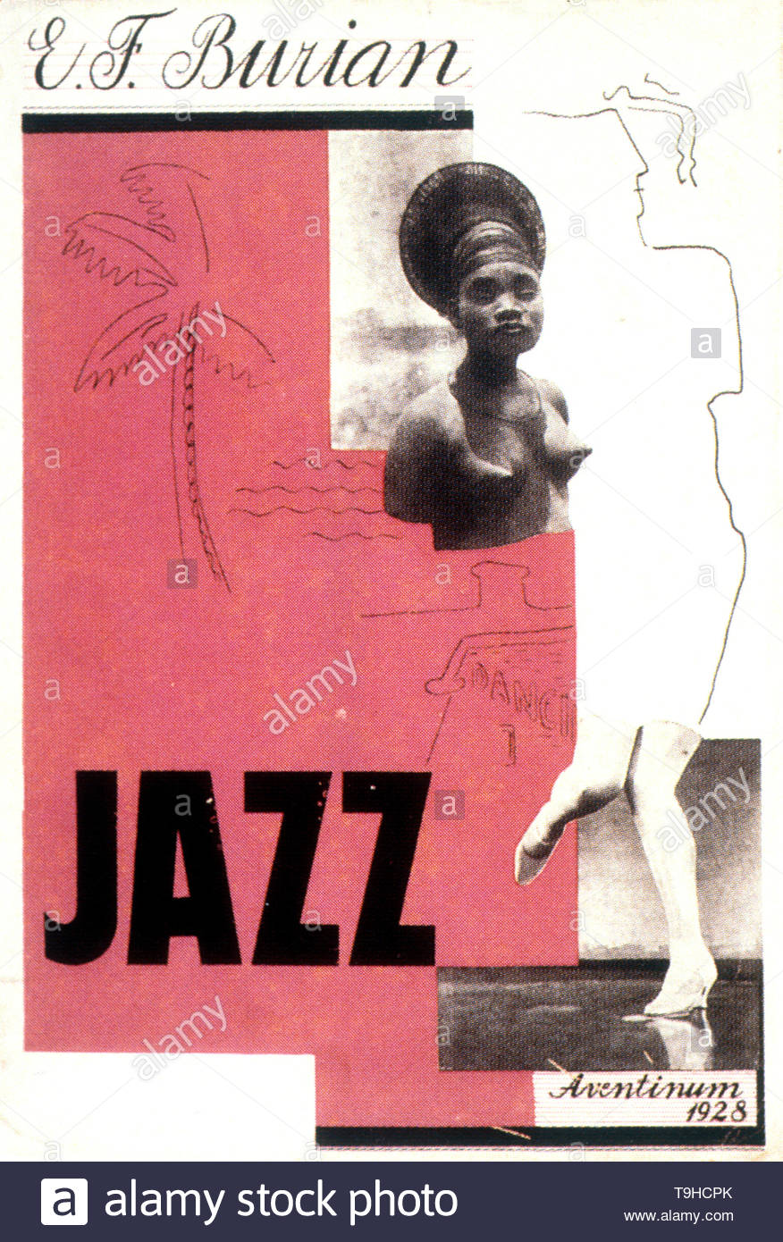 Burian, Emil Frantisek-Book cover design by Karel Šourek for Jazz by Emil František Burian. Praha, Aventinum, 1928. - Stock Image